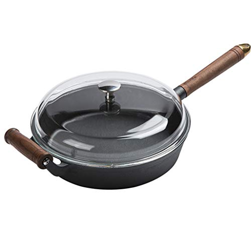 Gietijzer Niet Roest Verdiepen Pan Non-stick Pan, Steak Frying Pan Huishoudelijke Kleine Frying Pan, Induction Cooker Gas Universele Anti-stick Pan (met Glazen Cover)