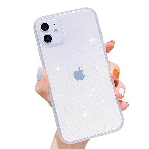 Anynve Compatible with iPhone 11 Case,Bling Glitter Sparkle Clear Case for Women [Anti-Shock Matte Edge Bumper Design] Cute Slim Soft Silicone Gel Phone Case Compatible for Apple iPhone 11 6.1''-Clear