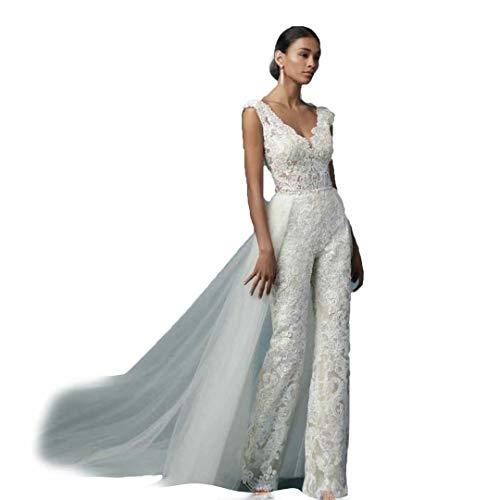 HYC Spitze Braut Jumpsuit Hochzeit Hosen Kleid Applikationen Spitze Hochzeit Gwon mit abnehmbarem Zug - Weiß - 36