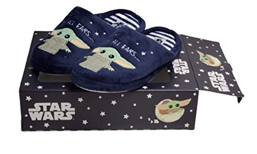 Disney Star Wars Hausschuhe Baby Yoda Mandalorian Damen Indoor Slip On Pantoletten, Blau - marineblau - Größe: Small