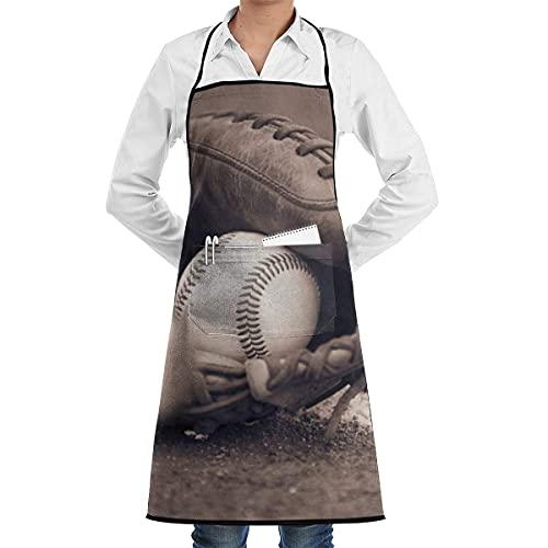 NA Cocina Chef Delantal con Peto Bate de béisbol Cuello Cintura Corbata Centro Canguro Bolsillo Impermeable