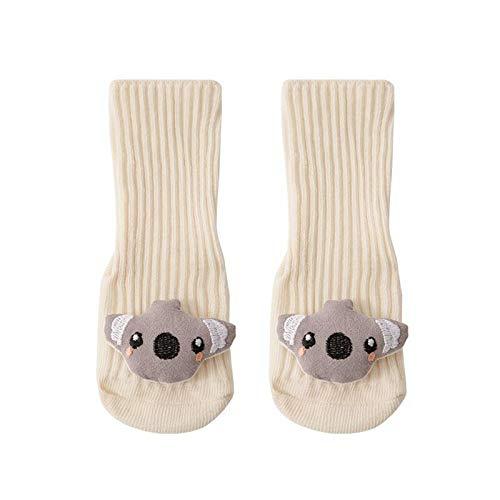 YWLINK Calcetines Antideslizantes para BebéS AlgodóN Grueso Y CáLido Bonitos Calcetines Deportivos para NiñOs Y NiñAs Lindo Calcetines para NiñOs PequeñOs Adecuados para 0-24 Meses (Beige, S)