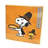 Snoopy & Woodstock Eating Pumpkin Pie 40 Pack 3 Ply Novelty Happy Thanksgiving Paper Lunch Party Napkins