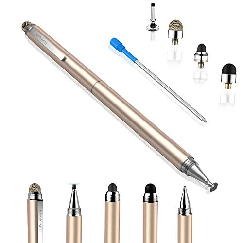 Penyeah Stylus pens for Touch Screens - [4-in-1] High Sensitivity and Precision Touch Screen Stylus Disc Tip,Black Rubber Tip & Mesh Fiber Tip Universal for All Capacitive Touch Screen Device (Gold)