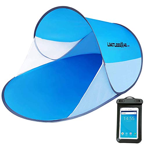LimitlessXme Pop Up Strandmuschel 2-4 Personen | Testsieger 2020* | inkl. Handyhülle, Tragetasche & Heringen | 200x120x90cm - Sonnenschutz (UV Schutz)