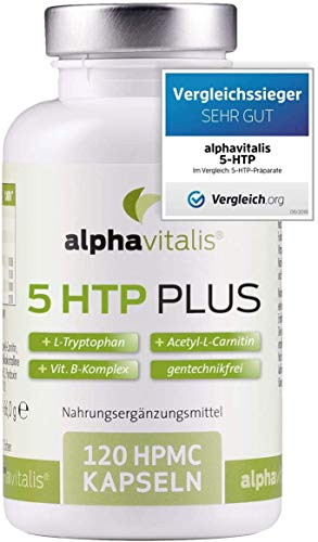 VERGLEICHSSIEGER 2019*: 5-HTP PLUS - 200mg 5-Hydroxytryptophan + L-Tryptophan + Acetyl-L-Carnitin + Vitamin B Komplex - ohne Magnesiumstearat - vegan- 120 Kapseln