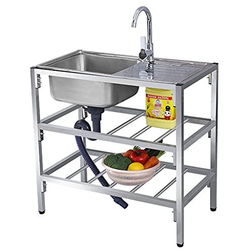 SHENXINCI Free Standing Stainless-Steel Single Bowl,Commercial Restaurant Kitchen Sink Set W/Faucet & Drainboard, Prep & Utility Washing Hand Basin W/Workbench & Double Storage Shelves,75x40cm