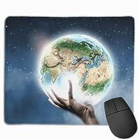 マウスパッド、ステッチエッジ付きマウスパッド、グローブ用滑り止めゴムベースコンピューター用マウスパッド
