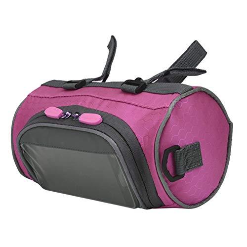 XCHJY Mountainbike Fahrrad Taschen Touchscreen Radfahren Telefon Tasche Fall Rennrad Vordere Rohr Lenker Zylinder Bagag 000420 (Color : Pink)