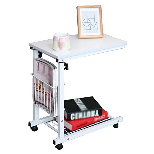 Jlxl Overbed Table With Locking Swivel Wheels, Height Adjustable Mobile, With Storage Tray For Home, Dormitory, Office And Hospital, Reading, Eating Breakfast Cart Stand Furniture