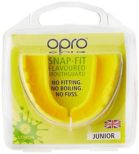 snap-fit Gum Shield Opro Mundschutz für Boxen, Hockey, Rugby oder alle Kontaktsportarten (Lemon, Kinder 5–10 Jahre)