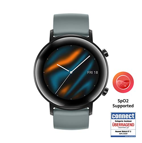HUAWEI Watch GT 2 Smartwatch (42 mm Full-Color-AMOLED Touchscreen, SpO2-Monitoring, Herzfrequenzmessung, Musik Wiedergabe, 5ATM wasserdicht, GPS) Lake Cyan [Exklusiv +5 EUR Amazon Gutschein]