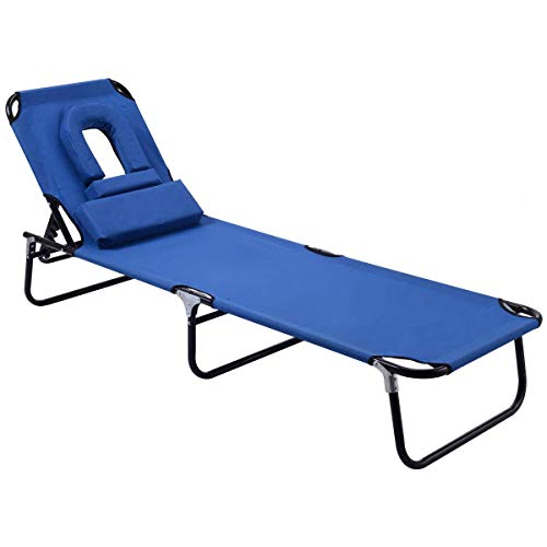 HOMGX Folding Chaise Lounge Chair, Outdoor Deck Chair with 15 to 80 Degrees Adjustable Backrest, Reclining Chair for Beach, Swimming Pool, Deck Chair with Tanning Face Down Hole, Sling Chair, Blue