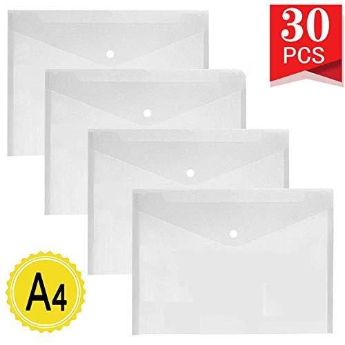 LATERN 30 Stück Dokumententaschen A4 Transparent Dokumententasche mit Druckknopf für Dokument Speicherung