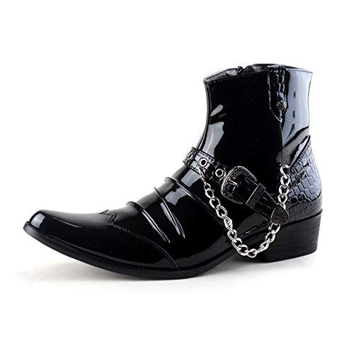 Cicongzai Los hombres de los cargadores del tobillo ocasional de moda a prueba de herrumbre cadena de metal en punta del dedo del pie lateral de arranque patente de la cremallera del cuero del top del