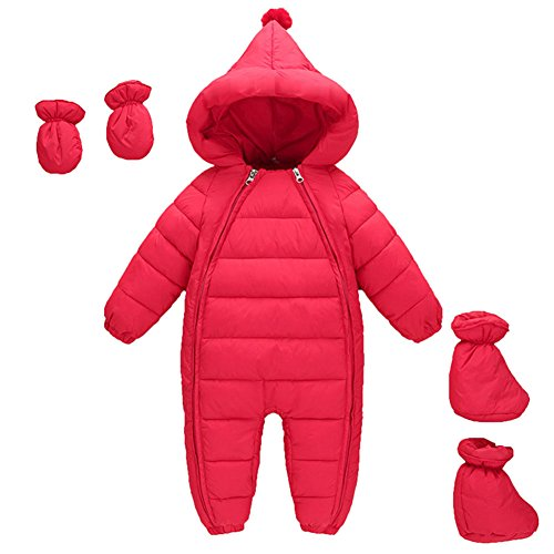 Schneeanzug Baby Jungen Mädchen MissChild, Daunenanzug Strampler mit Kapuze Quilted Pramsuit Outdoor Overall Winter Snowsuit Outfit Mantel Rot Label 80