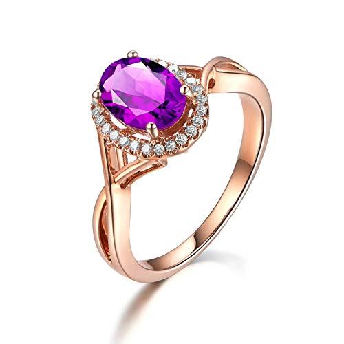 Bishilin Alianza de Plata Esterlina S925 para Novia Ajuste Cómodo Forma Oval Púrpura Oval Cristal Piedra del Zodíaco Alianza de Compromiso Muy Pulida con Bolsa de Joyeríaoro Rosa Talla: 22