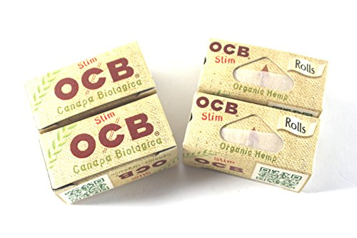 4 x OCB Organic Hemp Rolls Organic hemp Slim unbleached rolling paper