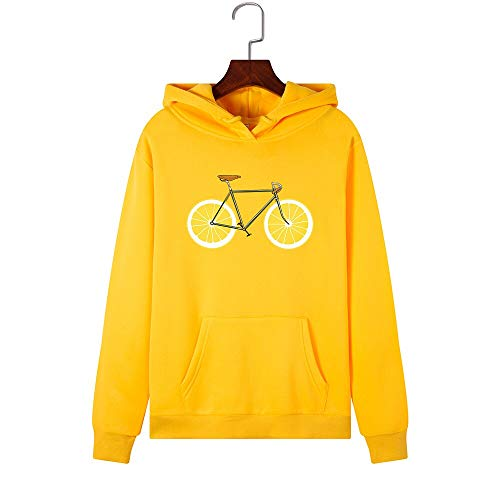 MIALIFEX Mujeres Sudaderas Sudaderas Sudadera con Capucha Limón Bicicleta Impresión Otoño Invierno Más Tamaño Bolsillo Jersey Mujer Sudadera Con Capucha Tops