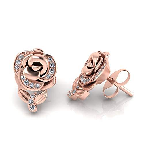 Jbr - Pendientes de tuerca de plata de ley 925 con diamantes de estilo Belle y circonita cúbica para mujer y niña