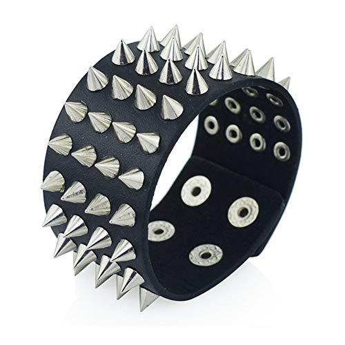 XYBB Única de Cuatro Filas de cuspidales Spikes Remache del Perno Prisionero de Ancho Cinturón de Cuero Punk Rock gótico Unisex de la Pulsera del Brazalete de los Hombres de joyería (Color : A)