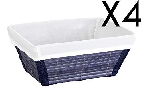 PEGANE Lot de 4 paniers de Salle de Bain en Bambou Bleu foncé - Dim : L 19,5 x H 9 x P 15 cm