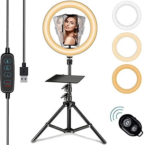 10.2 Zoll LED Ringlicht mit 15-63 Zoll Stativ, Dimmbare Selfie Ringleuchte mit Handyhalter und Fernbedienung, 3 Farbe und 10 Helligkeitsstufen für YouTube TikTok
