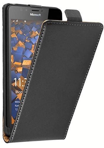 mumbi Tasche Flip Hülle kompatibel mit Microsoft Lumia 950 Hülle Handytasche Hülle Wallet, schwarz
