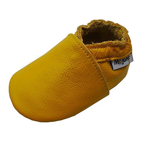 Mejale Chaussons Cuir Souple Chaussures Cuir Souple Chaussons Enfants Pantoufles Chaussures Premiers Pas(0-6 Mois, Jaune,S)