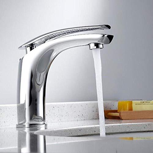 Lavabo de baño grifo mezclador de agua fría y caliente manija en cascada monomando blanco/cromado/aleación de cromo negro,VA5TFE09KBE2Q
