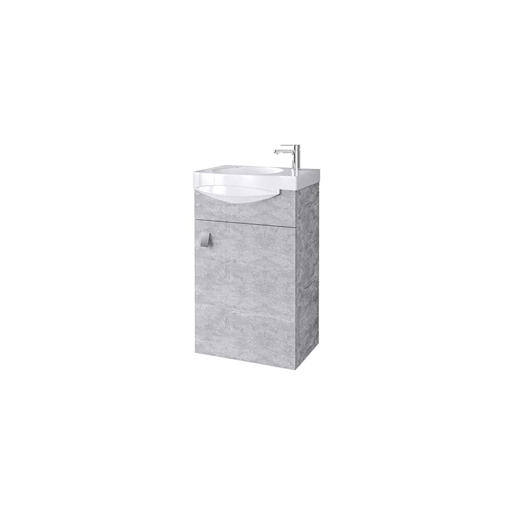 planetmoebel Ensemble de Meubles de Salle de Bains WC pour invités Meuble sous Vasque en céramique Armoire à Miroir…