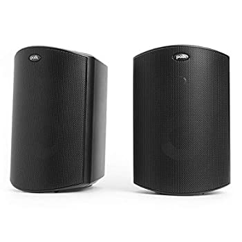 Polk Audio Atrium 4 Outdoor Speakers with Powerful Bass  Pair Black  All-Weather Durability Broad Sound Coverage Speed-Lock Mounting System