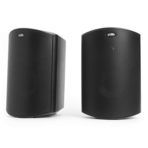 Polk Audio Atrium 4 Outdoor Speakers with Powerful Bass (Pair, Black), All-Weather Durability, Broad Sound Coverage, Speed-Lock Mounting System