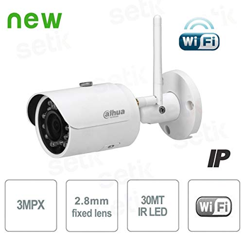 Dahua - Technology IPC-HFW1320S-W Netzwerkkamera, Wi-Fi, Mini-Infrarot-Objektiv mit 3MP (DWDR Tag/Nacht (ICR), 3DNR, AWB, AGC, BLC), Weiß