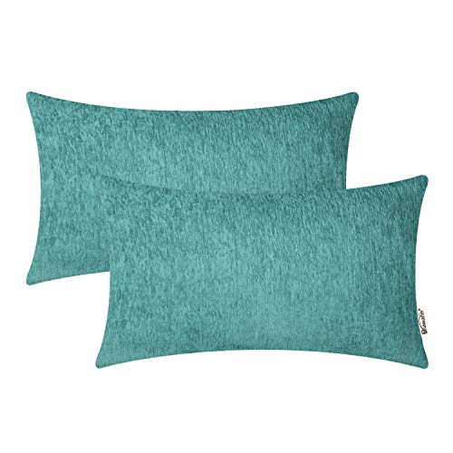 BRAWARM Pack of 2 Comfy Bolster Pillow Covers Cases for Couch Sofa Home Decoration Solid Dyed Striped Soft Chenille 12 X 20 Inches Teal