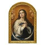 Cuadro Virgen Maria Inmaculada de la Concepción de Murillo. Madera 28x18,5x1, Litografia barnizada con polimero protector a mano. Decora en todos los estilos: clasico, moderno, rustico.
