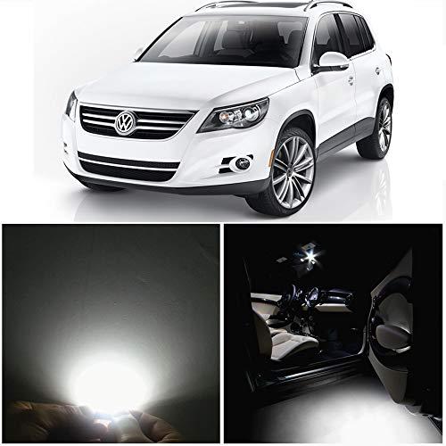 WLJH Lot de 10 Super Brillant Blanc Canbus Kit Ampoules IntéRieures Feux Led Lumineuses Sans Erreur 2835 Puces IntéRieur De Voiture Pour Tiguan (2009-2013)