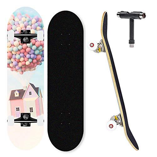 Gnitoaim 7-lagiges Ahorn-Skateboard 31-Zoll-Profi-Skateboard für Teenager, Erwachsene, Jungen und Mädchen-Fliegendes Haus