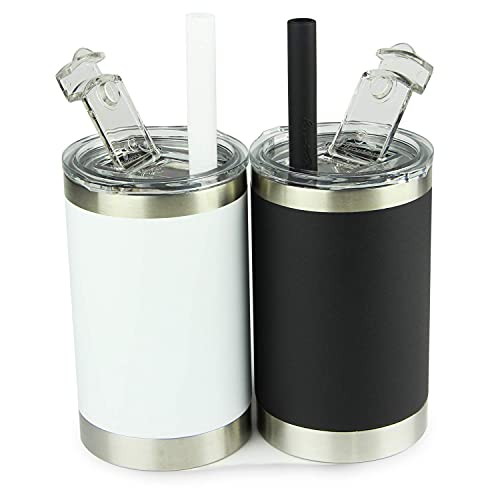 Housavvy Sippy Cups for Toddlers Vacuum Insulated Stainless Steel Kids Cups with Straws and Lids,Easy Cleaning,Dishwasher Safe,11oz,Black/White,2 Pack