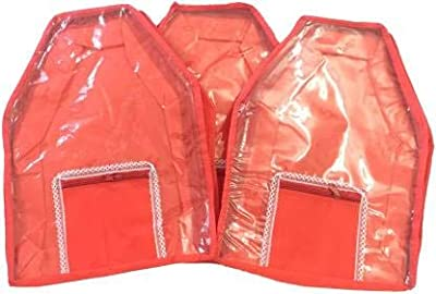 Saavi Creation Designer Blouse Cover 3 pcs Combo bc05 (Red) (Red)