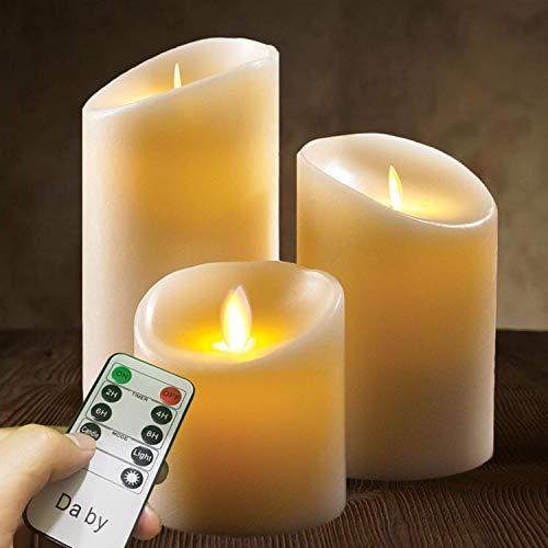 LED Kerzen von Da by, Flammenlose Kerze 300 Stunden Batterie Dekorative Kerzen Set 3 (10cm, 12.8cm, 15.2cm). Die echt blinkende LED-Flamme ist aus elfenbeinfarbenem Echtwachs gefertigt.10-Tasten-Fern