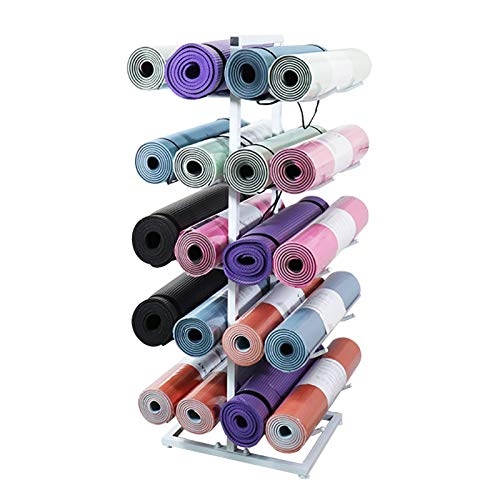 Organizador de 20 Colchonetas de Yoga, Gran Capacidad Coach Soporte de Rodillo de Espuma para Correa de Yoga/Colchoneta de Ejercicio, Hardware Incluido (Color : White)