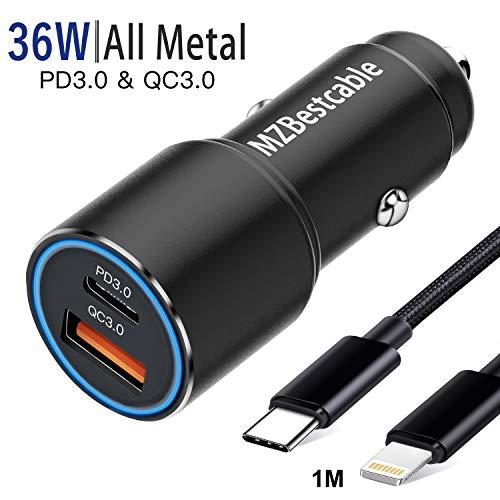 Auto Ladegerät 36W PD&QC 3.0 Schnell Metall USB kfz Zigarettenanzünderfür Iphone 11/11 Pro/11 Pro Max/12 5G/SE 2020 XR XS X 8 7/8 Plus 7Plus,XS Max,Dual USB Auto Ladeadapter mit 1M Ladekabel