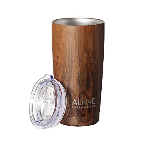 ALNAE タンブラー ふた付き コンビニマグ 真空断熱 600ml 水筒 マグボトル コーヒーカップ 魔法瓶 二重構造 保温保冷 直飲み 大容量 ビール コーヒー 直接ドリップ 木目調