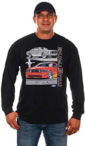 JH DESIGN GROUP Men's Ford Mustang GT Black Long Sleeve T-Shirt (2X, Black)