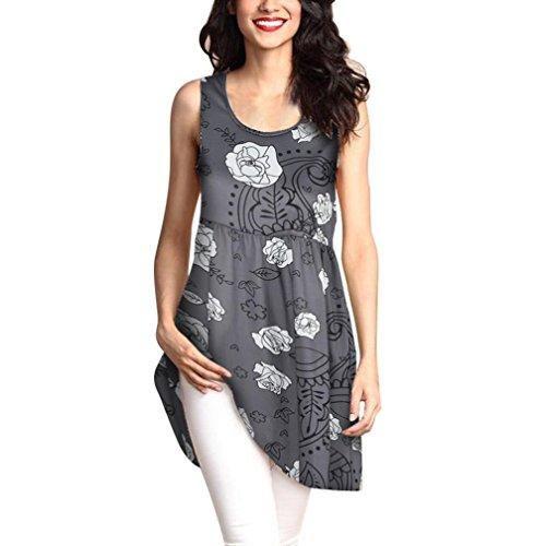 MRULIC Geschenk Zum Muttertag Womens Fashion Printed Tops Lose T-Shirt Lange Bluse (EU-42/CN-2XL, X-Grau)