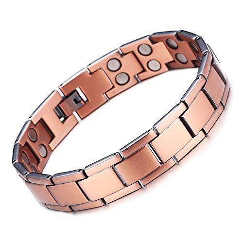 Moda hombres doble fila magnética pulsera con incrustaciones imán rojo cobre magnético terapia salud pulsera regalo fiesta