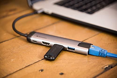 Verbatim USB-C Multiport-Hub mit USB 3.0 - HDMI, 4K, USB-C-Hub mit Schnellladeanschluss für Laptop und MacBook