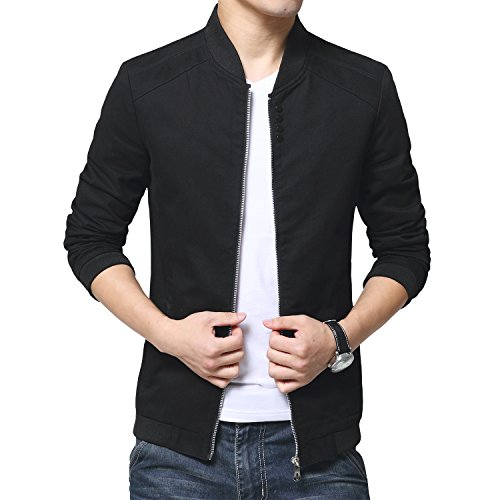 Womleys Mens Autumn Casual Bomber Jacket Coat Cotton Outerwear (Asian XXL (US Medium), Black)