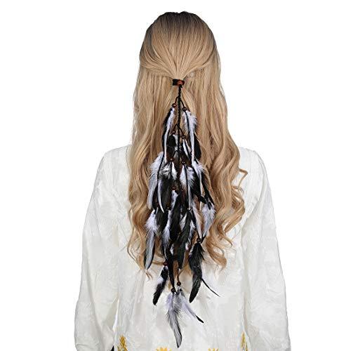 Feder Haarband Quaste Indian Hippie Kopfschmuck - Boho Indian Federschmuck für Vintage Festival Stirnband Kopfbedeckung mit Perlen Maskerade Kostüm(Schwarz + weiß)
